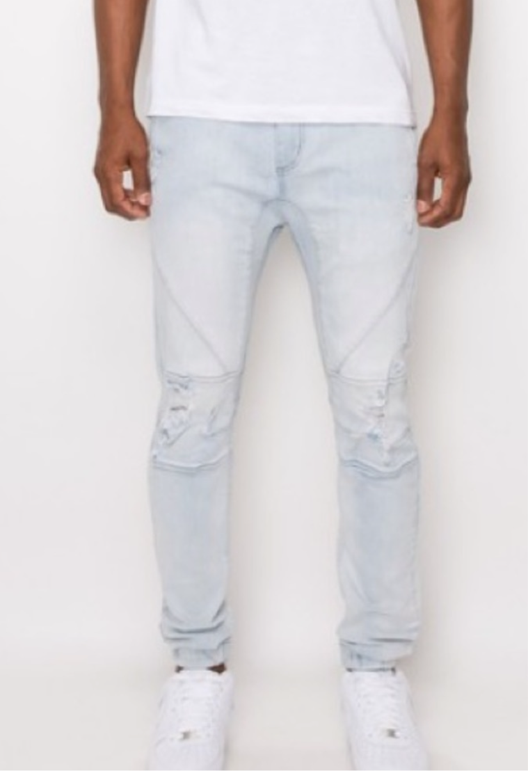 Men's Light Wash Denim Jean Stretch Jogger Pants
