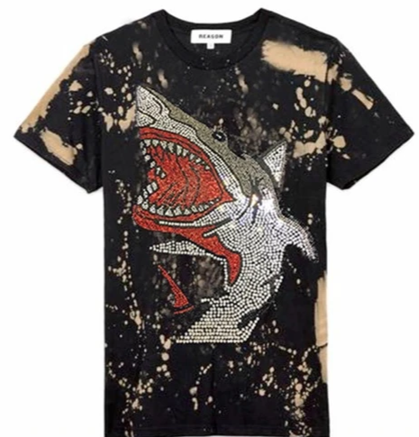 Reason Mens Rhinestone Black Shark Tee Shirt