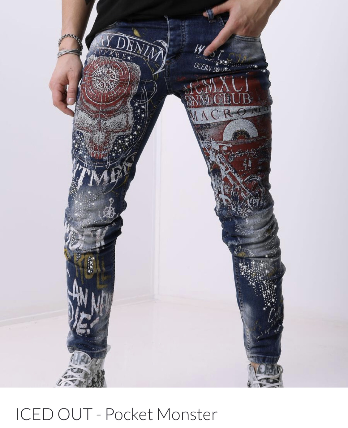 Sernes Brand Mens Iced Out Rhinestone Jeans Pants