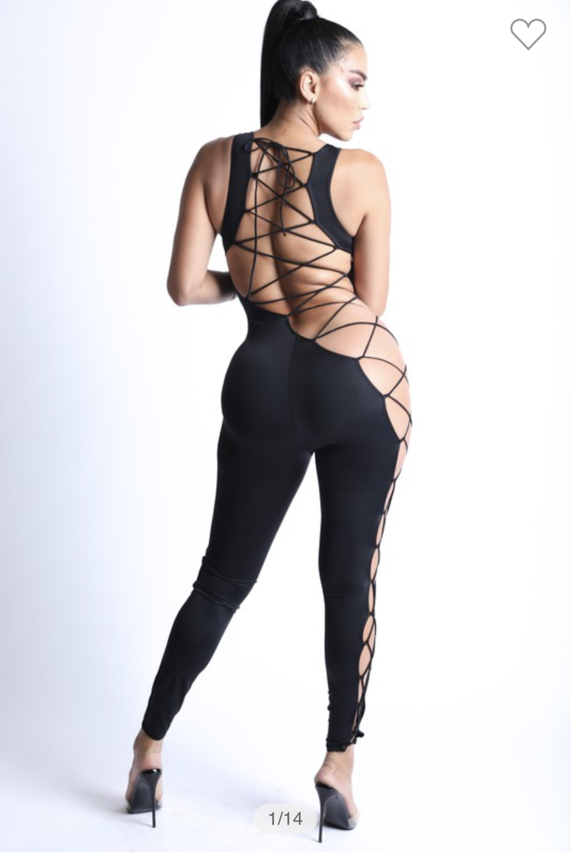 Black Stretchy Lace Up Jumpsuit