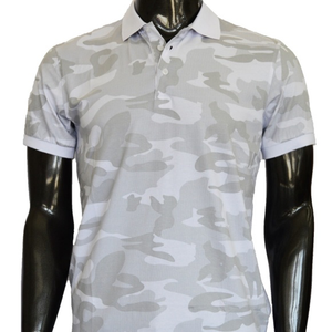 Italian Designer Men's White Camo Polo