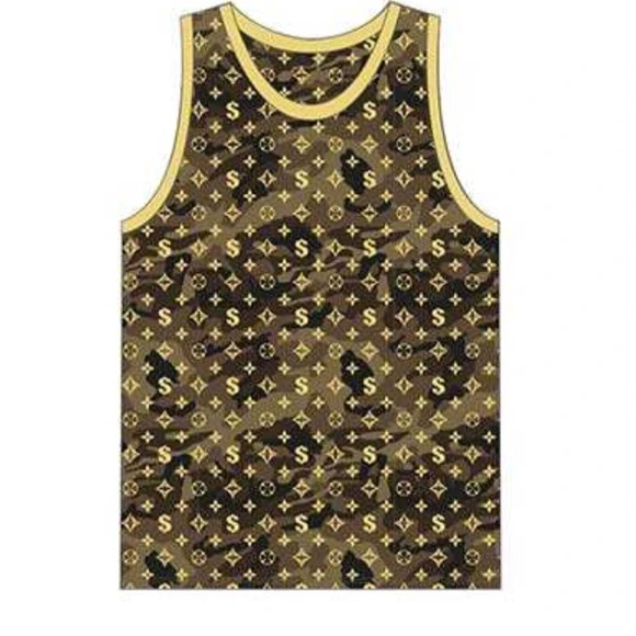 Men's Gold Camo Print Shirt Designer Tank Top