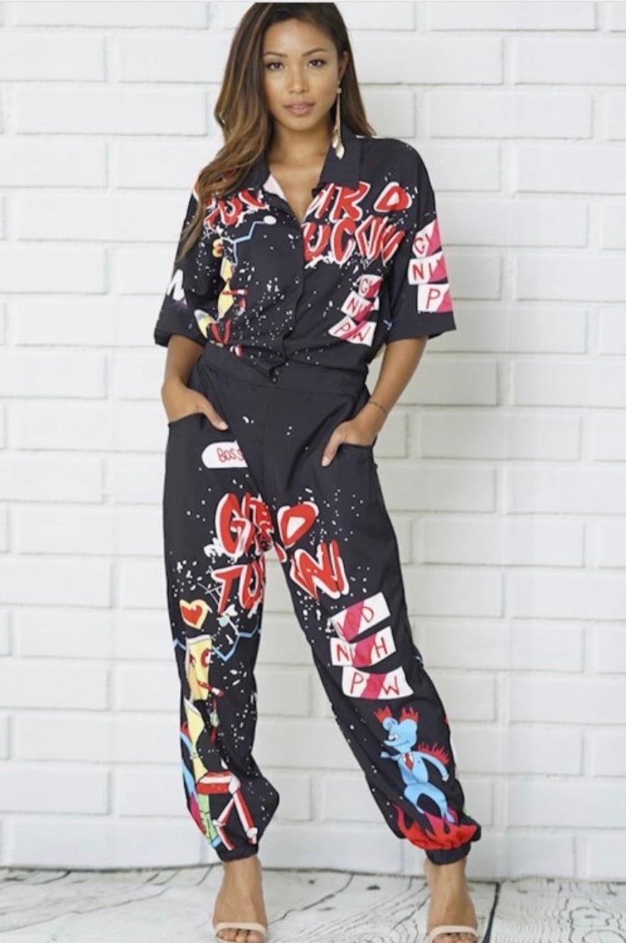Black Graffiti Print Stretchy Jumpsuit
