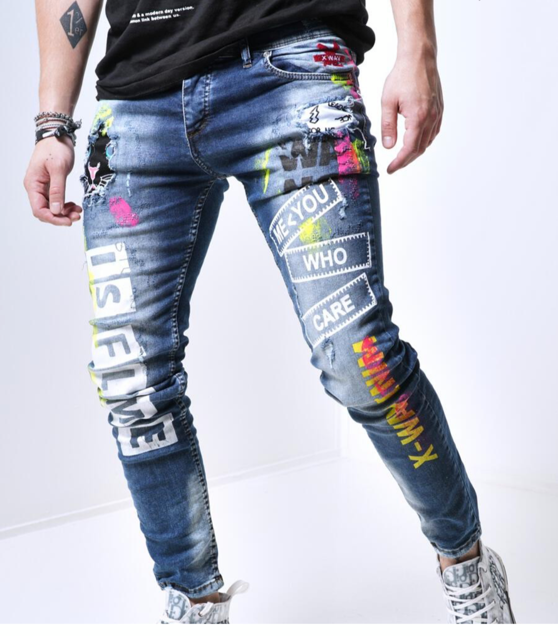 Sernes Brand Men's Iced Out Jeans Pants