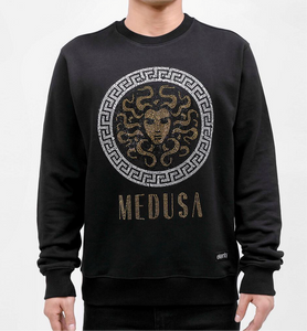 Hudson/Eternity Rhinestone Medusa Men's Crew Neck Sweater Shirt