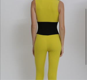 Women's Yellow Stretchy Jumper Jumpsuit