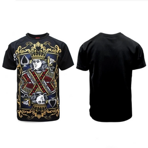 Victorious Men's Black King Of Spades Rhinestone Trim Tee
