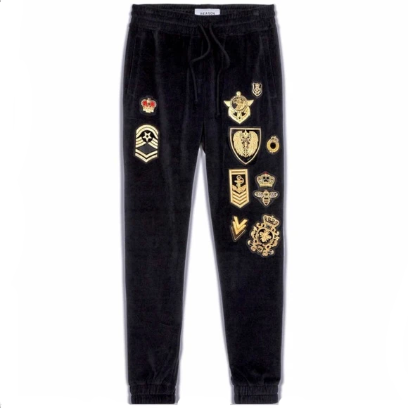 Reason Men S Black Velour Sweat Pants Track Pants Unleashed Street Wear And Apparel