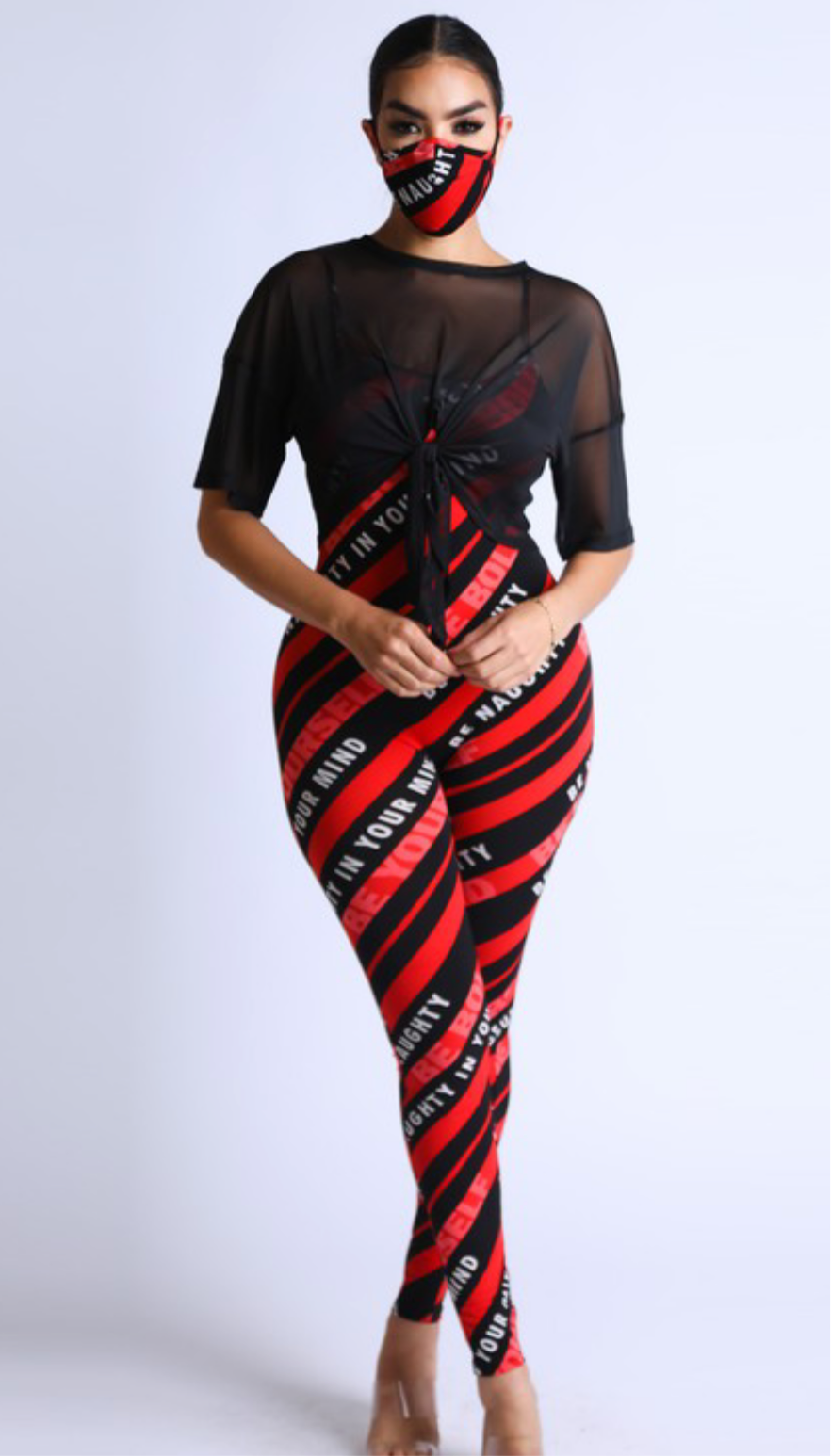 Women's Red Black Striped 3 Piece Set
