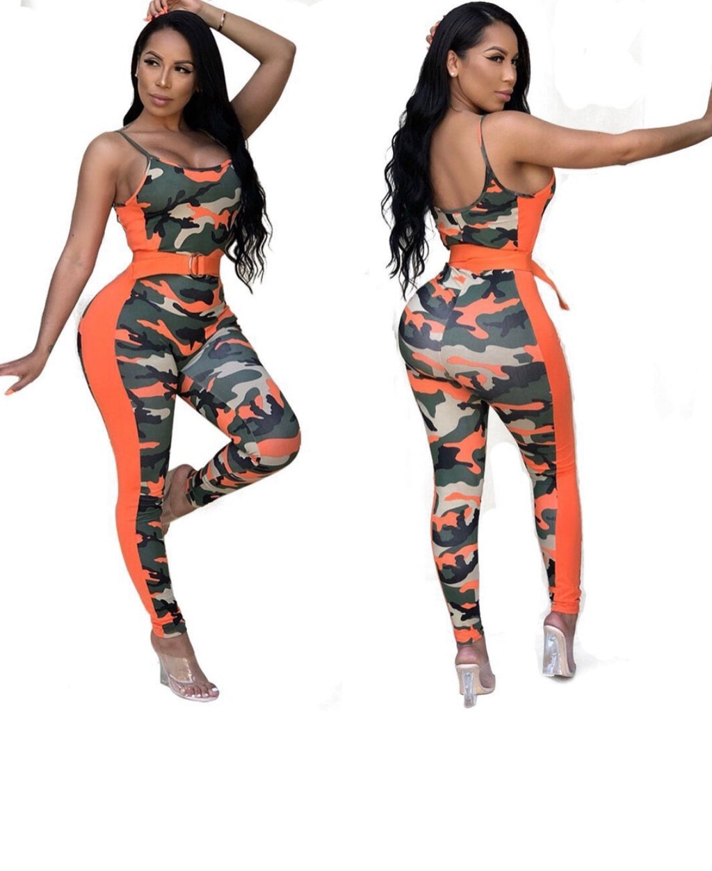 Orange Camo Stretch Jumpsuit