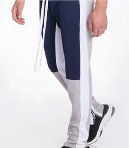 Men's Navy Blue White Gray Colorblock Jogger Pants