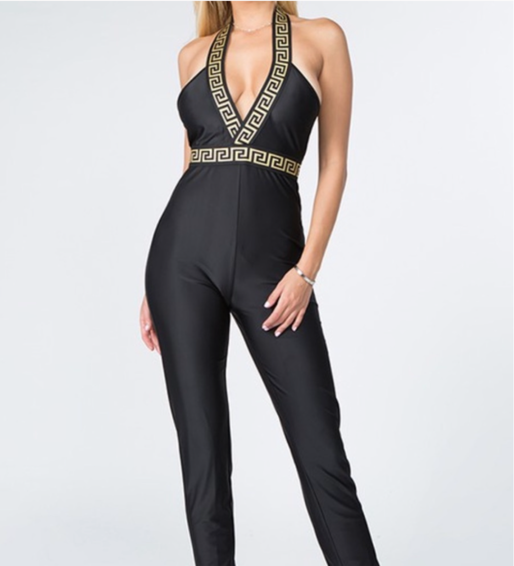 Women's Black Gold Chain Plunging Jumpsuit