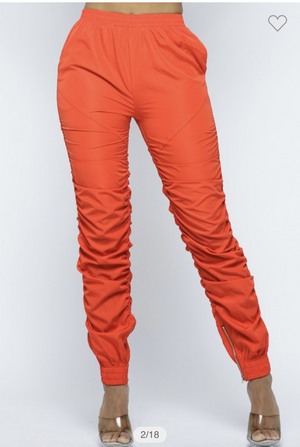 Orange Stretch Waist Stack Pants