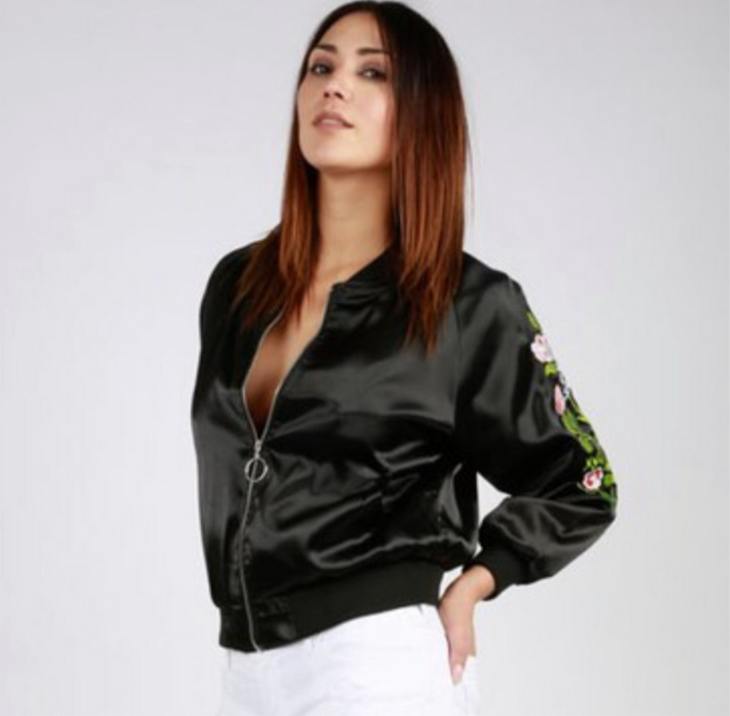 Black Satin Women's Embroidered Bomber Jacket