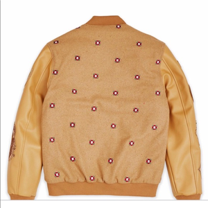 Reason Tan Beige Button Up Bomber Mens Jacket