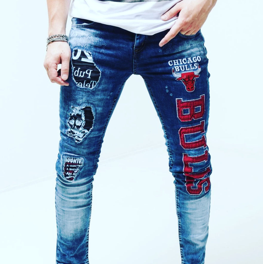 Sernes Brand Men's Patch Design Jeans Pants