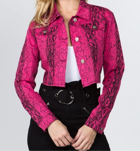Women's Hot Pink Snake Skin Print Jean Jacket