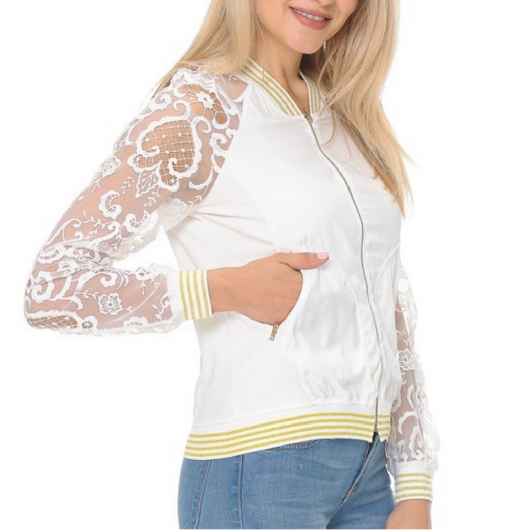 Women's Off White Lace Zip Up Jacket