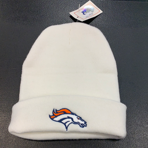 White Denver Broncos Beanie Hat