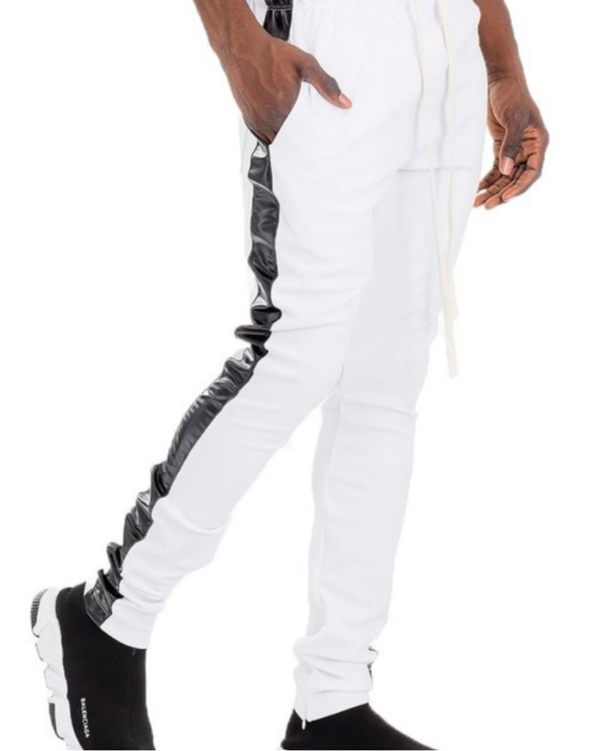 Men's Stretch White Black Stripe Jogger Pants