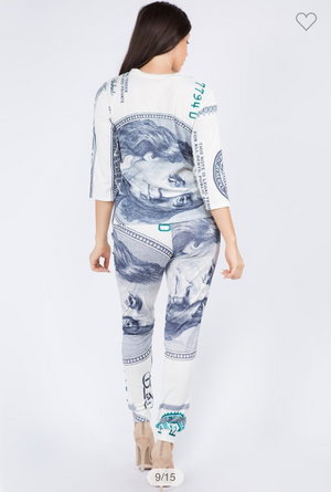 2 Piece Money Dollar Print Pant Set
