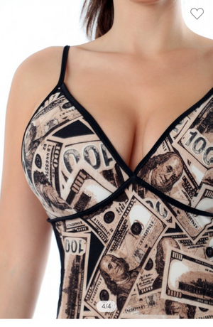 Money Dollar Bill Print Stretchy Jumpsuit