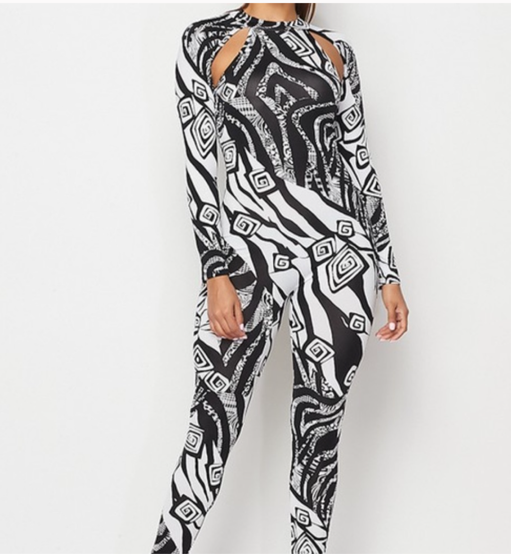 Women's Black White Detail Stretchy Jumpsuit
