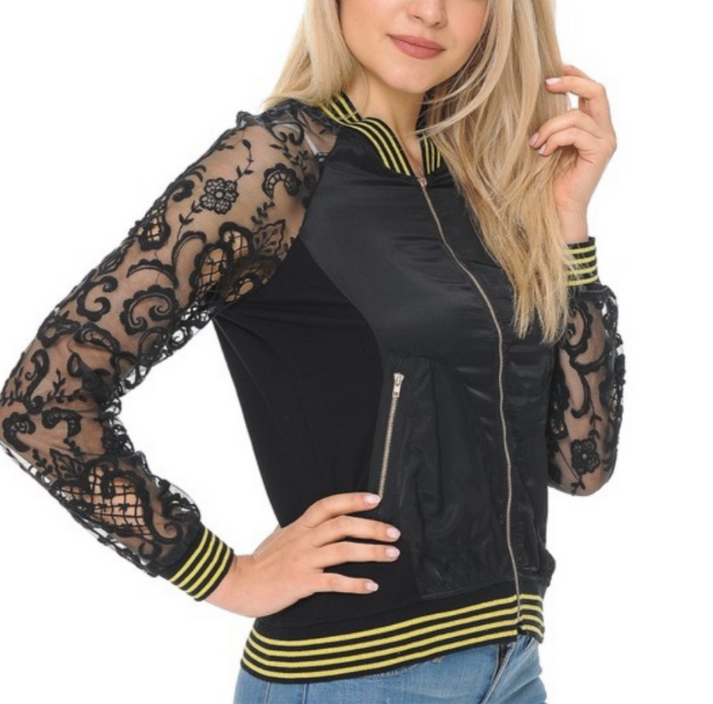 Women's Black Lace Trim Zip Up Jacket