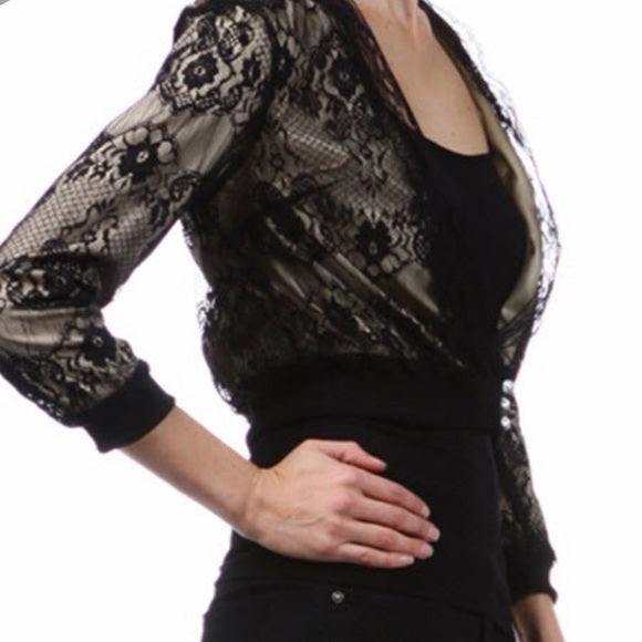 Women's Black Lace Dress Jacket Coat