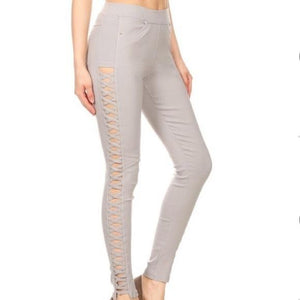 Gray Stretch Jeans Elastic Waist Skinny Cut Pants