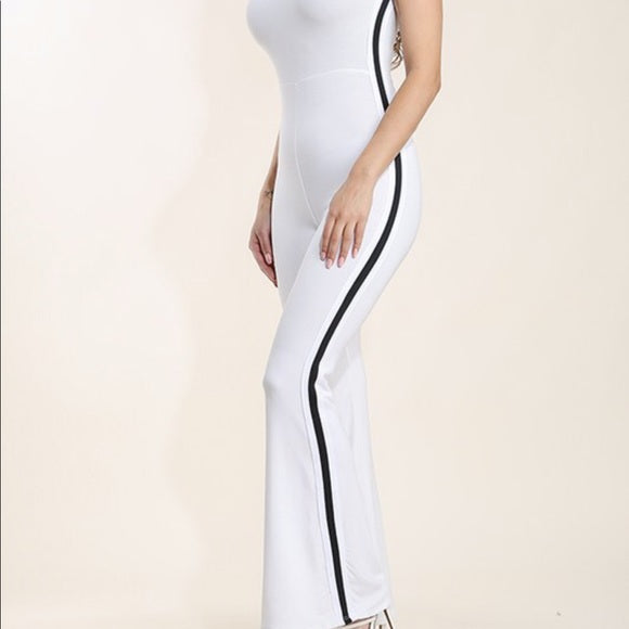 White Black Stripe Catsuit Jumper Romper Stretch
