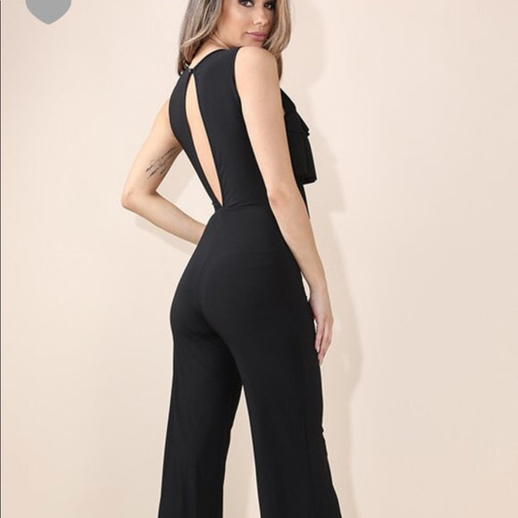 Black Ruffle Catsuit Jumper Romper Stretch