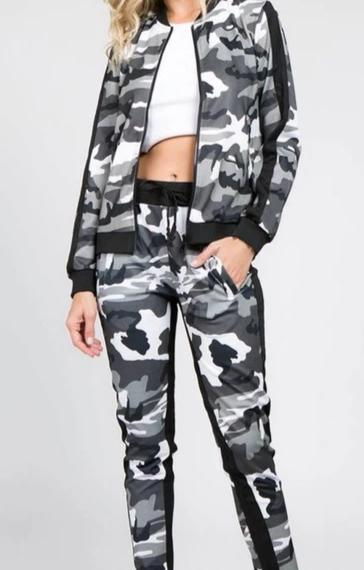 City Camo Womens 2 Piece Stretch Waist Pants Set