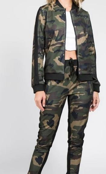 Olive Camo Womens 2 Piece Stretch Waist Pants Set