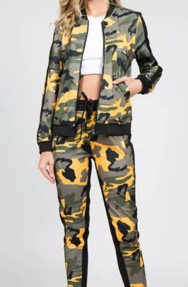 Green Camo Womens 2 Piece Stretch Waist Pants Set
