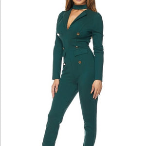Teal Jumper Jumpsuit Bodysuit Gold Trim Button
