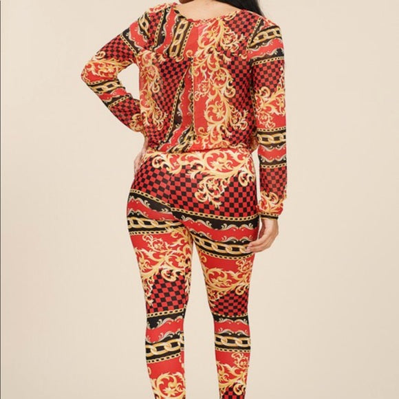 Red Black Gold Pants Set Chain Print