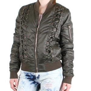 Lace Up Zip Up Shiny Army Green Bomber Jacket
