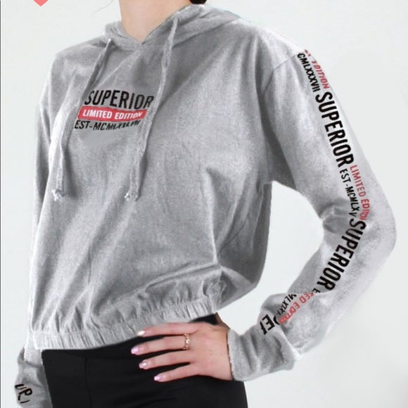 Heather Gray Long Sleeve Hooded Hoodie Tee Shirt