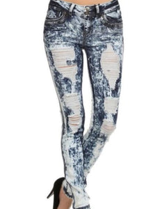 Distressed Skinny Stretch Denim Blue Jeans