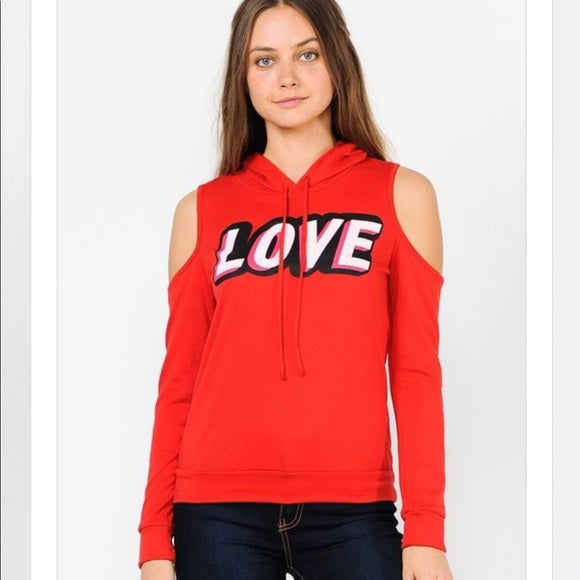 Red Off Shoulder Hoodie Long Sleeve Tee