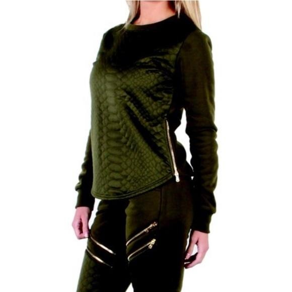 Olive Camo Green Snake Print Long Sleeve Sweater