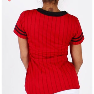 Red Black Pinstripe Queen Baseball Jersey Top