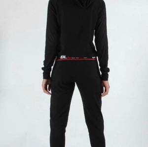 Blessed Black Red Stripe 2 Piece Hooded Sweat Suit