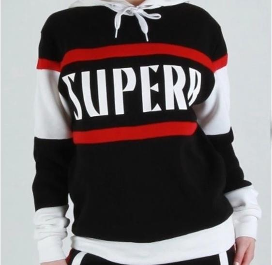 Black Red White Stripe Hoodie Hooded Sweatshirt