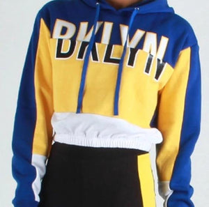Blue Yellow White Stripe Hoodie Hooded Sweatshirt