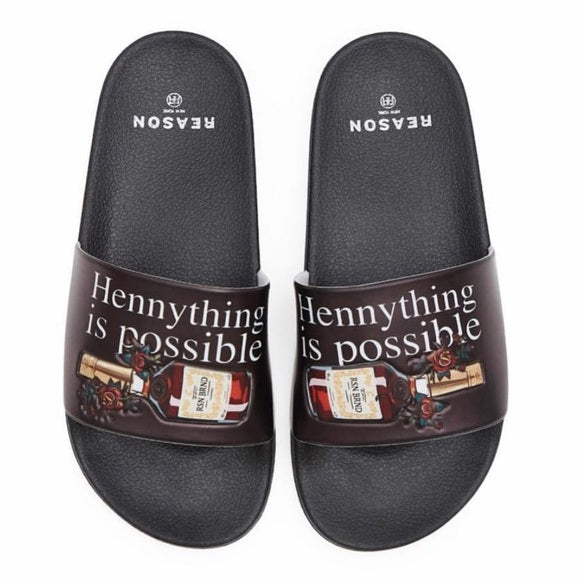 Reason brand men's black slide on flip-flops