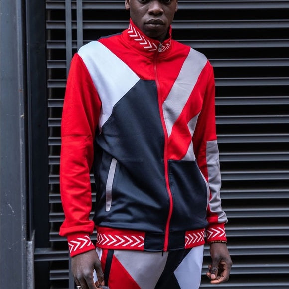 Reaason Red Colorblock Two Piece Tracksuit Set