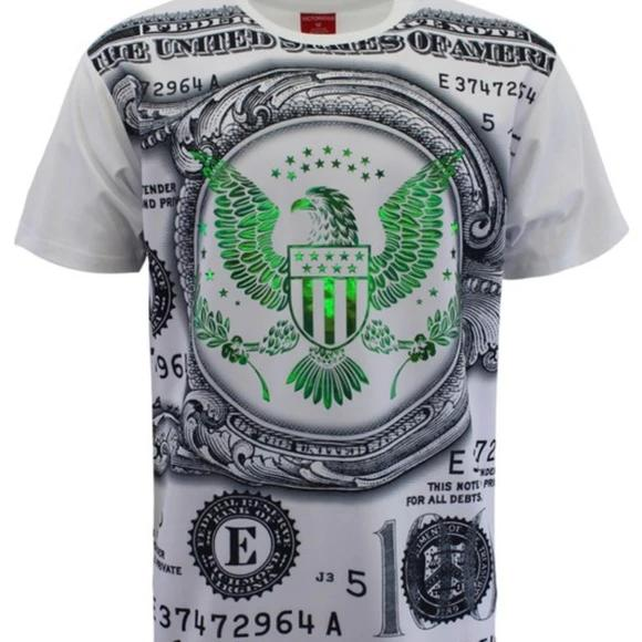 Men's White Foil Detail Money Design T-Shirt
