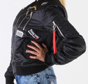 Women's Black White Military Style Bomber Puffer Jacket